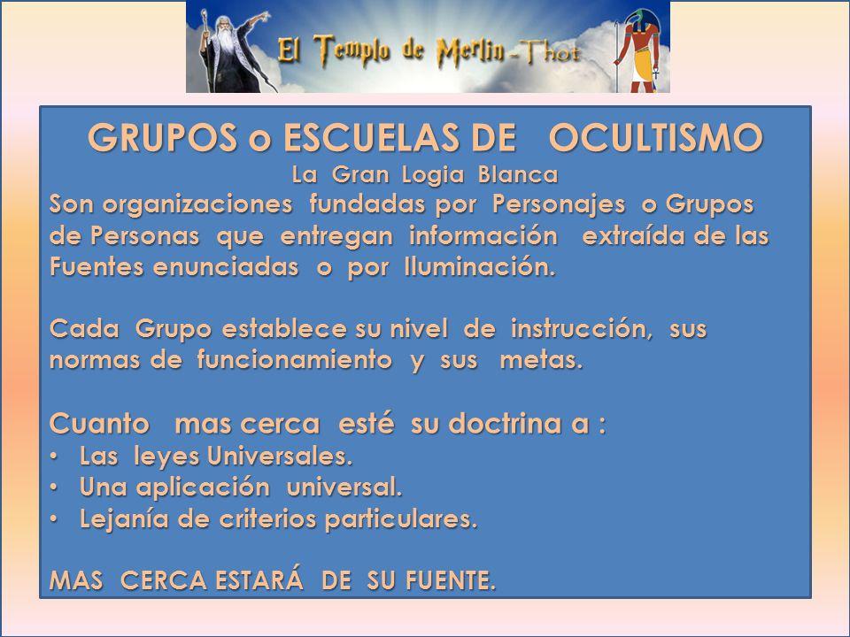 GRUPOS OCULTISMO La Gran Logia Blanca ORDEN ROSACRUZ AMORC ORDEN MARTINISTA MASONERIATEOSOFIAKABALA GNOSTICISMO GRAN FRATERNIDAD UNIVERSAL NUEVA ACROP