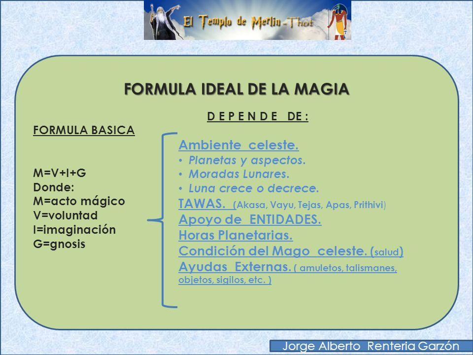FORMULA BASICA DE LA MAGIA Primera fórmula básica de la Magia M=V+I+G Donde: M=acto mágico V=voluntad I=imaginación G=gnosis (trance mágico= portal al