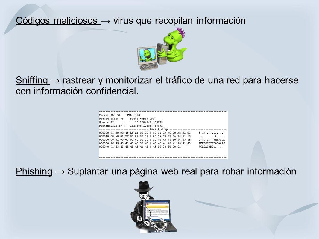 Códigos maliciosos virus que recopilan información Sniffing rastrear y monitorizar el tráfico de una red para hacerse con información confidencial. Ph
