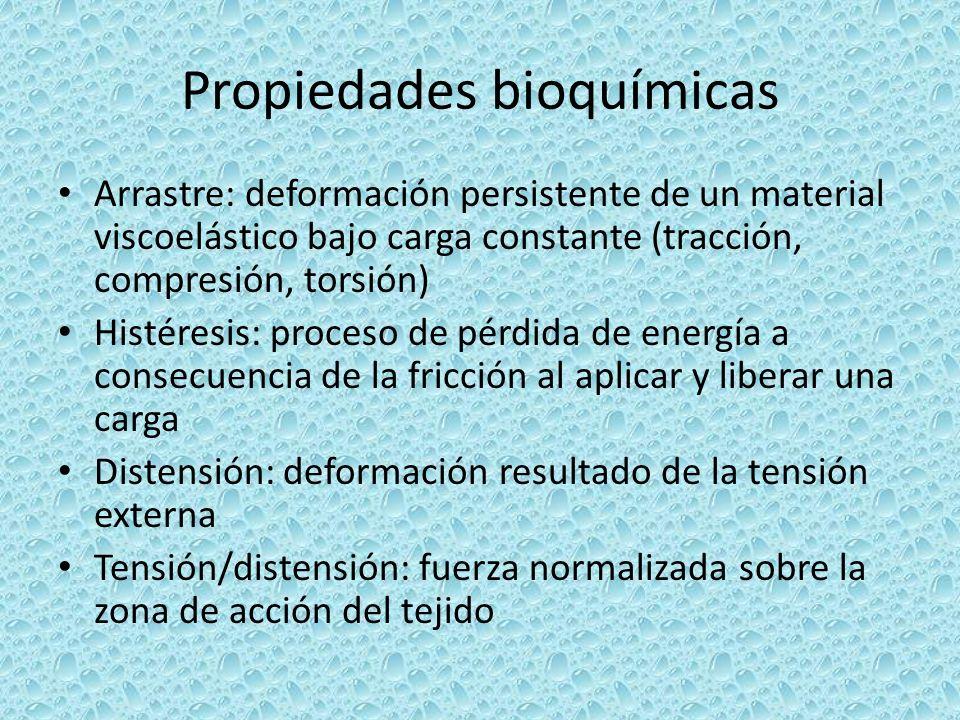 Propiedades bioquímicas Arrastre: deformación persistente de un material viscoelástico bajo carga constante (tracción, compresión, torsión) Histéresis