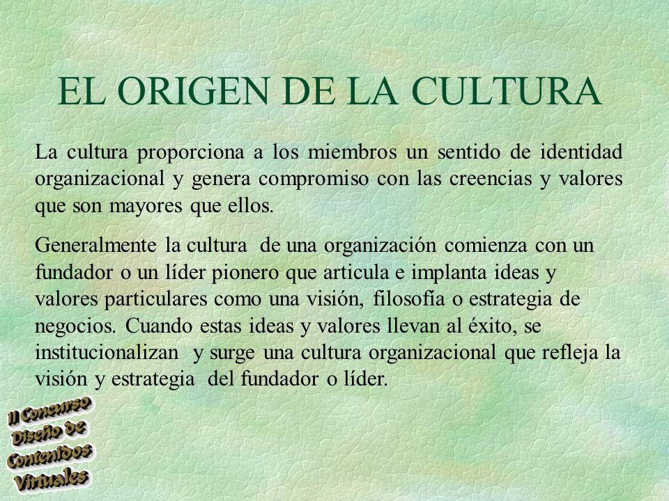 EL ORIGEN DE LA CULTURA La cultura proporciona a los miembros un sentido de identidad organizacional y genera compromiso con las creencias y valores que son mayores que ellos.
