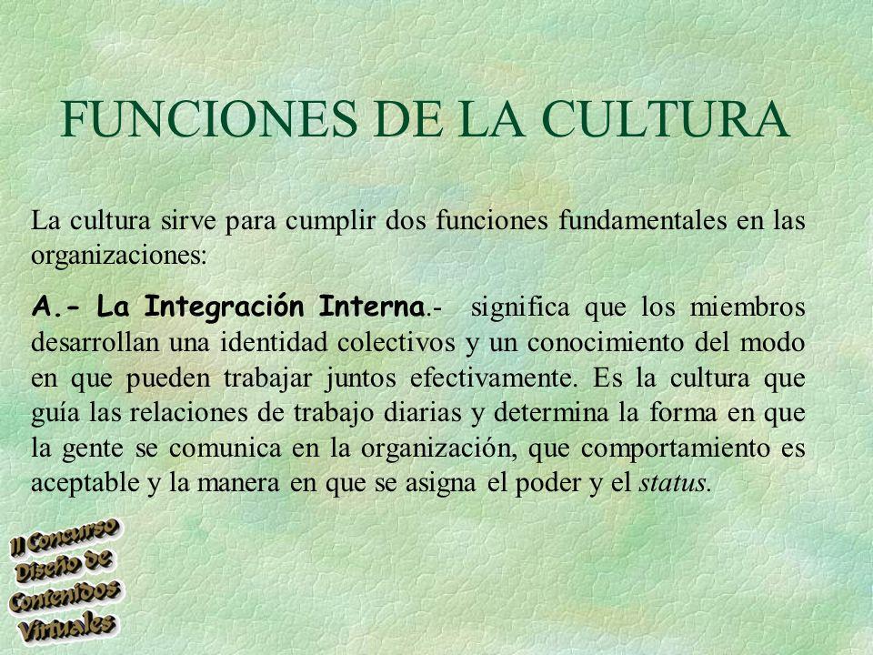 FUNCIONES DE LA CULTURA La cultura sirve para cumplir dos funciones fundamentales en las organizaciones: A.- La Integración Interna.- significa que los miembros desarrollan una identidad colectivos y un conocimiento del modo en que pueden trabajar juntos efectivamente.