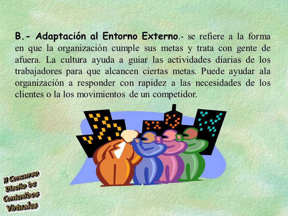 B.- Adaptación al Entorno Externo.- se refiere a la forma en que la organización cumple sus metas y trata con gente de afuera.