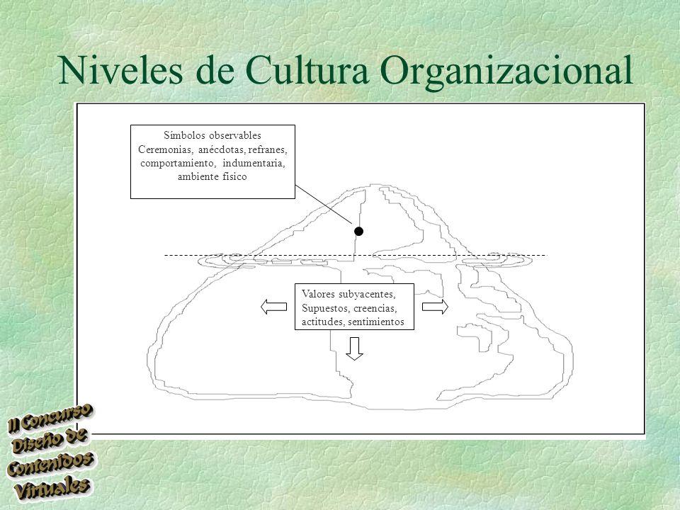 Niveles de Cultura Organizacional Valores subyacentes, Supuestos, creencias, actitudes, sentimientos Símbolos observables Ceremonias, anécdotas, refranes, comportamiento, indumentaria, ambiente fisico