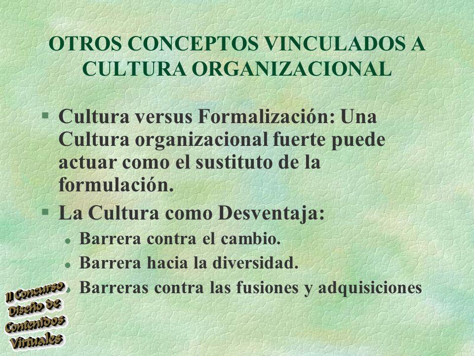 OTROS CONCEPTOS VINCULADOS A CULTURA ORGANIZACIONAL §Cultura versus Formalización: Una Cultura organizacional fuerte puede actuar como el sustituto de la formulación.