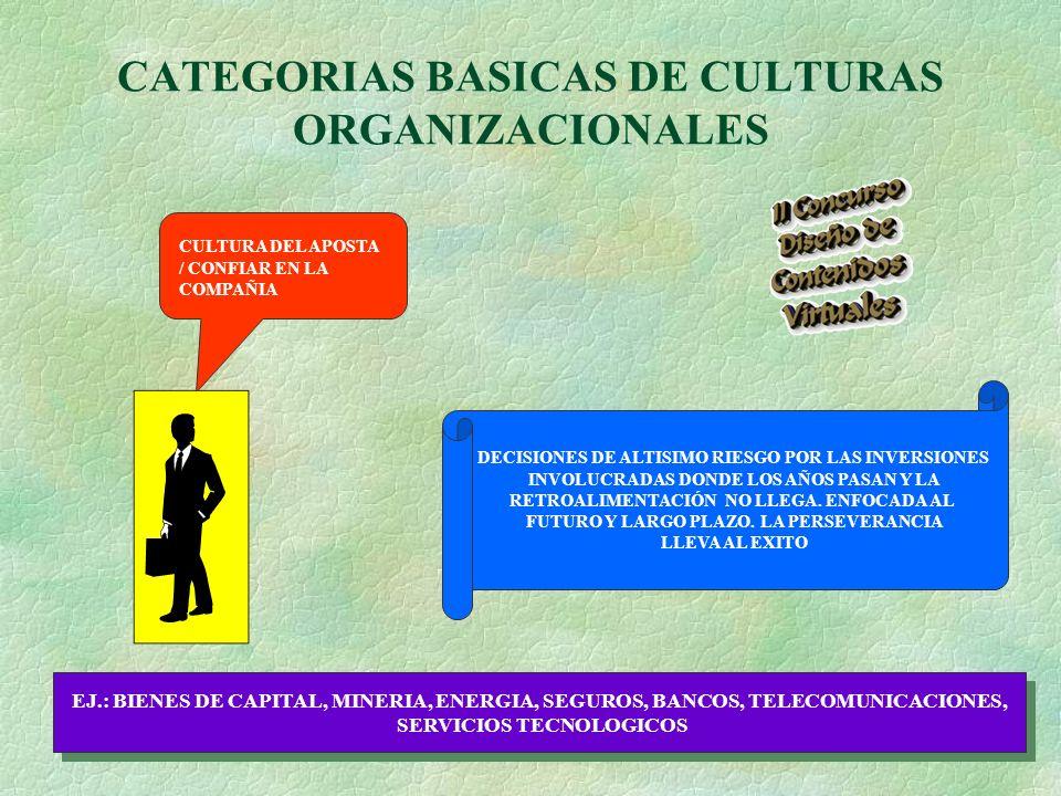 CATEGORIAS BASICAS DE CULTURAS ORGANIZACIONALES CULTURA DEL APOSTA / CONFIAR EN LA COMPAÑIA DECISIONES DE ALTISIMO RIESGO POR LAS INVERSIONES INVOLUCRADAS DONDE LOS AÑOS PASAN Y LA RETROALIMENTACIÓN NO LLEGA.