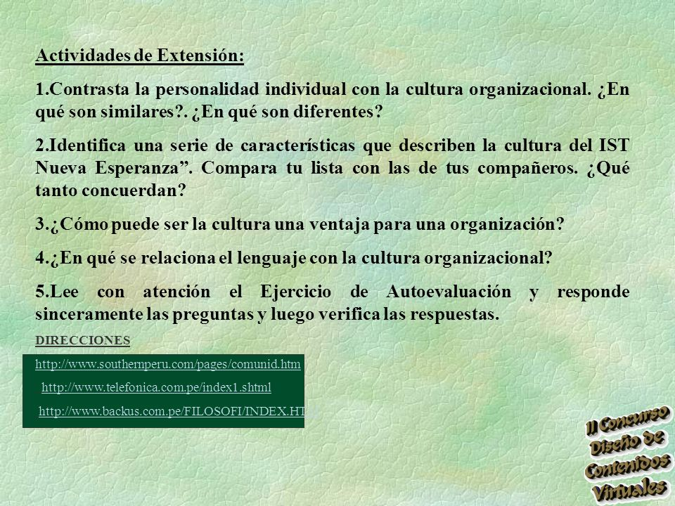 Actividades de Extensión: 1.Contrasta la personalidad individual con la cultura organizacional.
