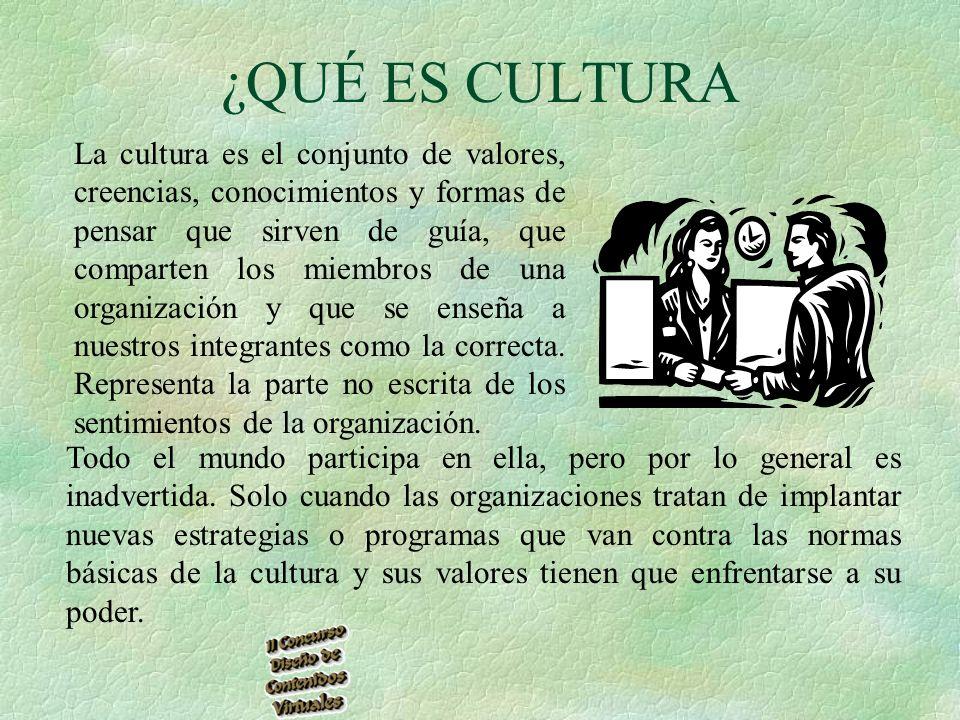 ¿QUÉ ES CULTURA La cultura es el conjunto de valores, creencias, conocimientos y formas de pensar que sirven de guía, que comparten los miembros de una organización y que se enseña a nuestros integrantes como la correcta.