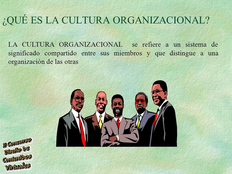 LA CULTURA ORGANIZACIONAL se refiere a un sistema de significado compartido entre sus miembros y que distingue a una organización de las otras ¿QUÉ ES LA CULTURA ORGANIZACIONAL?
