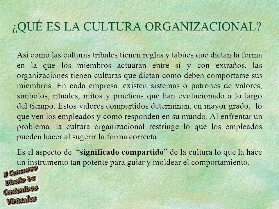 Así como las culturas tribales tienen reglas y tabúes que dictan la forma en la que los miembros actuaran entre sí y con extraños, las organizaciones tienen culturas que dictan como deben comportarse sus miembros.