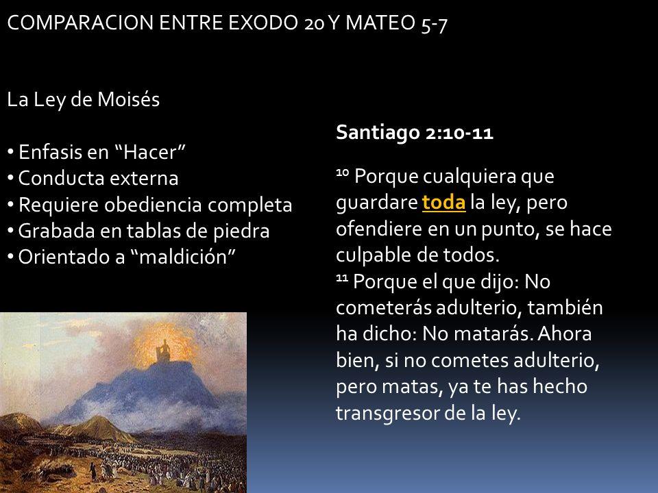 COMPARACION ENTRE EXODO 20 Y MATEO 5-7 La Ley de Moisés Enfasis en Hacer Conducta externa Requiere obediencia completa Grabada en tablas de piedra Ori