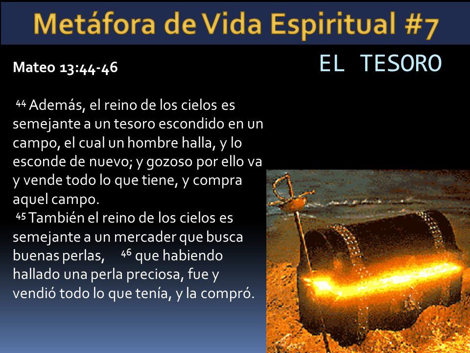 Mateo 13:44-46 44 Además, el reino de los cielos es semejante a un tesoro escondido en un campo, el cual un hombre halla, y lo esconde de nuevo; y goz