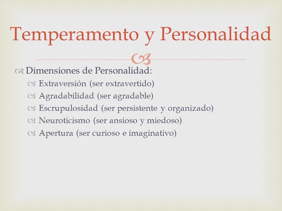 Dimensiones de Personalidad: Extraversión (ser extravertido) Agradabilidad (ser agradable) Escrupulosidad (ser persistente y organizado) Neuroticismo