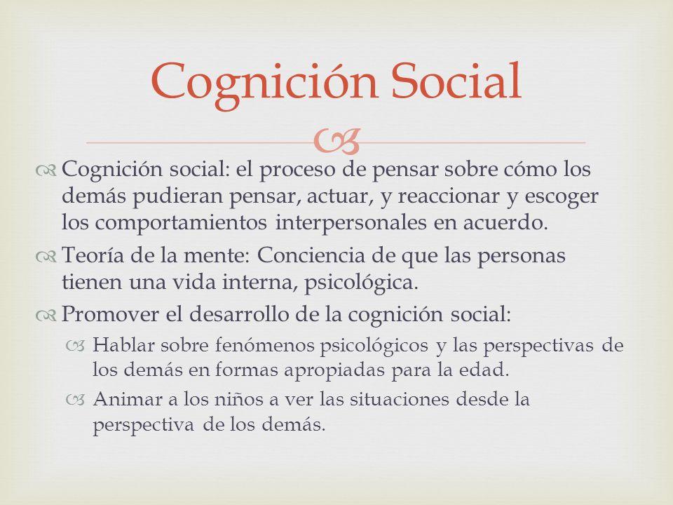Cognición social: el proceso de pensar sobre cómo los demás pudieran pensar, actuar, y reaccionar y escoger los comportamientos interpersonales en acu