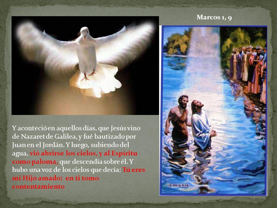 Y aconteció en aquellos días, que Jesús vino de Nazaret de Galilea, y fué bautizado por Juan en el Jordán. Y luego, subiendo del agua, vió abrirse los