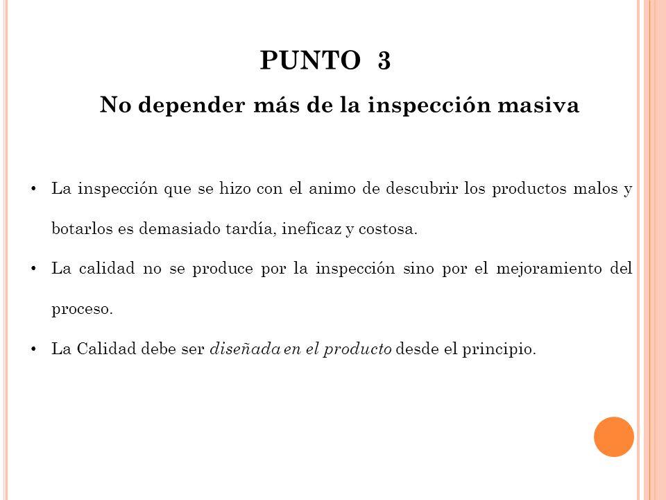 PUNTO 3 No depender más de la inspección masiva La inspección que se hizo con el animo de descubrir los productos malos y botarlos es demasiado tardía
