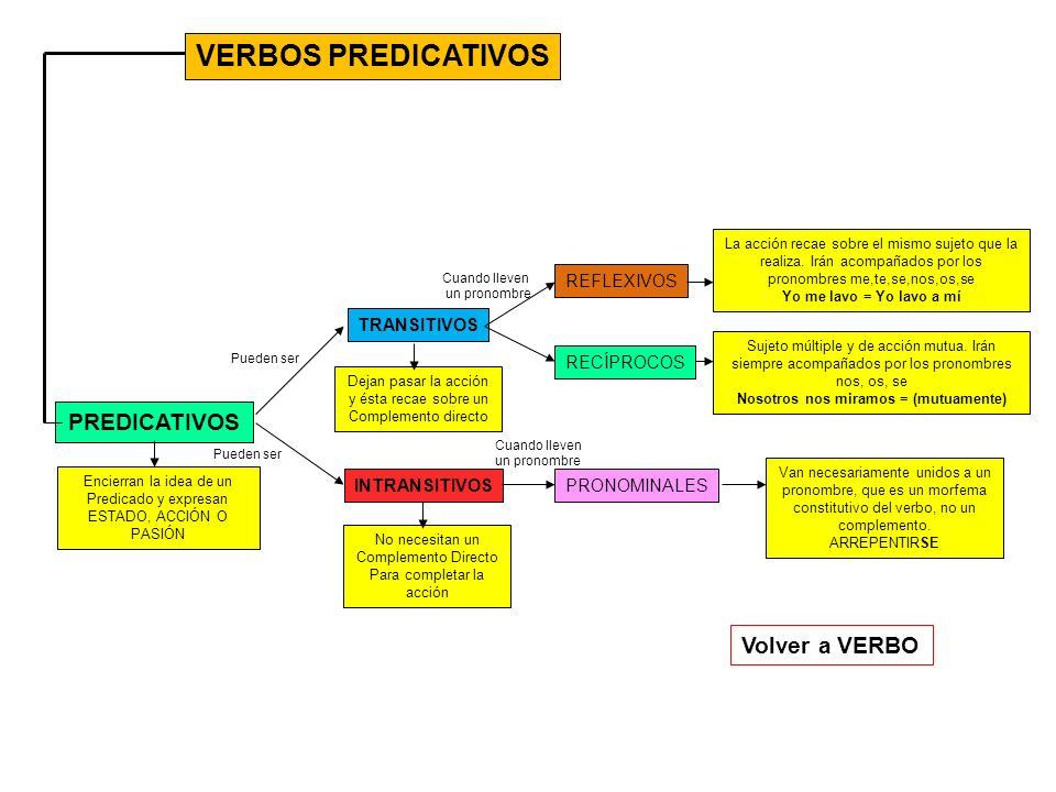 VERBOS PREDICATIVOS PREDICATIVOS TRANSITIVOS INTRANSITIVOS Encierran la idea de un Predicado y expresan ESTADO, ACCIÓN O PASIÓN Dejan pasar la acción y ésta recae sobre un Complemento directo No necesitan un Complemento Directo Para completar la acción REFLEXIVOS RECÍPROCOS PRONOMINALES Van necesariamente unidos a un pronombre, que es un morfema constitutivo del verbo, no un complemento.
