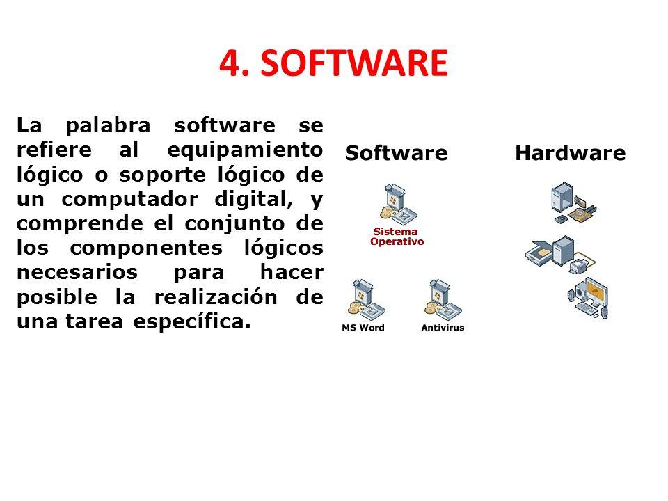 4. SOFTWARE La palabra software se refiere al equipamiento lógico o soporte lógico de un computador digital, y comprende el conjunto de los componente