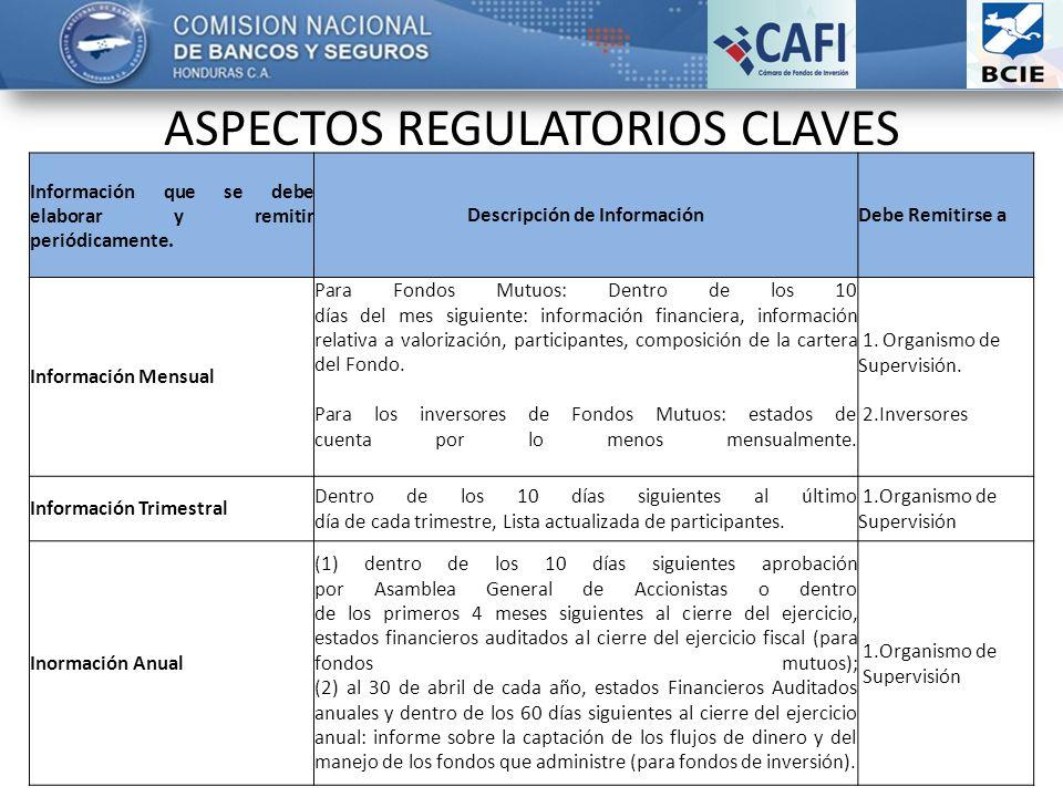 ASPECTOS REGULATORIOS CLAVES Información que se debe elaborar y remitir periódicamente.