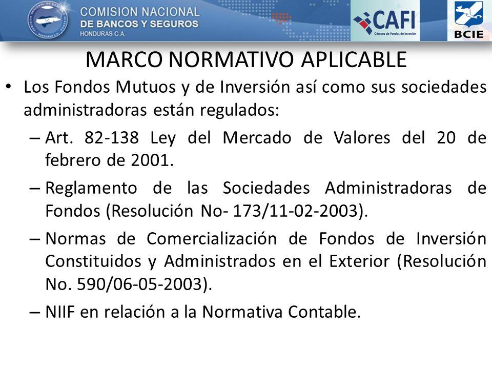 Los Fondos Mutuos y de Inversión así como sus sociedades administradoras están regulados: – Art. 82-138 Ley del Mercado de Valores del 20 de febrero d