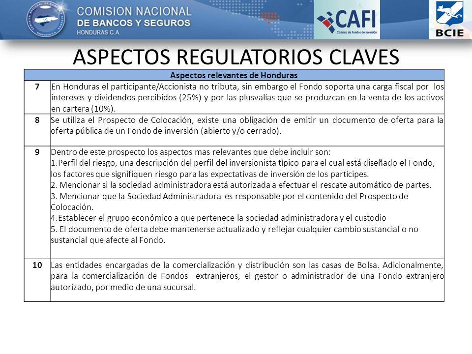 ASPECTOS REGULATORIOS CLAVES Aspectos relevantes de Honduras 7En Honduras el participante/Accionista no tributa, sin embargo el Fondo soporta una carga fiscal por los intereses y dividendos percibidos (25%) y por las plusvalías que se produzcan en la venta de los activos en cartera (10%).