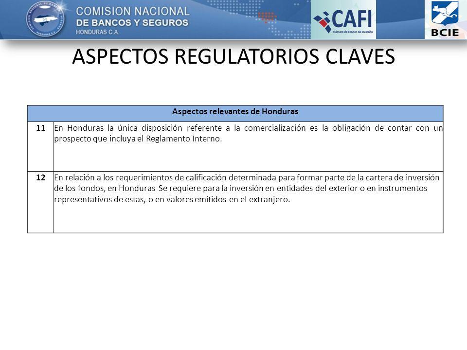 ASPECTOS REGULATORIOS CLAVES Aspectos relevantes de Honduras 11En Honduras la única disposición referente a la comercialización es la obligación de contar con un prospecto que incluya el Reglamento Interno.