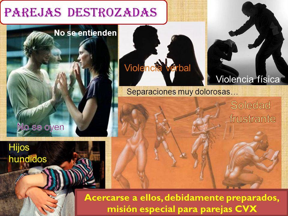 Separaciones muy dolorosas… Violencia verbal Violencia física Hijos hundidos Acercarse a ellos, debidamente preparados, misión especial para parejas C