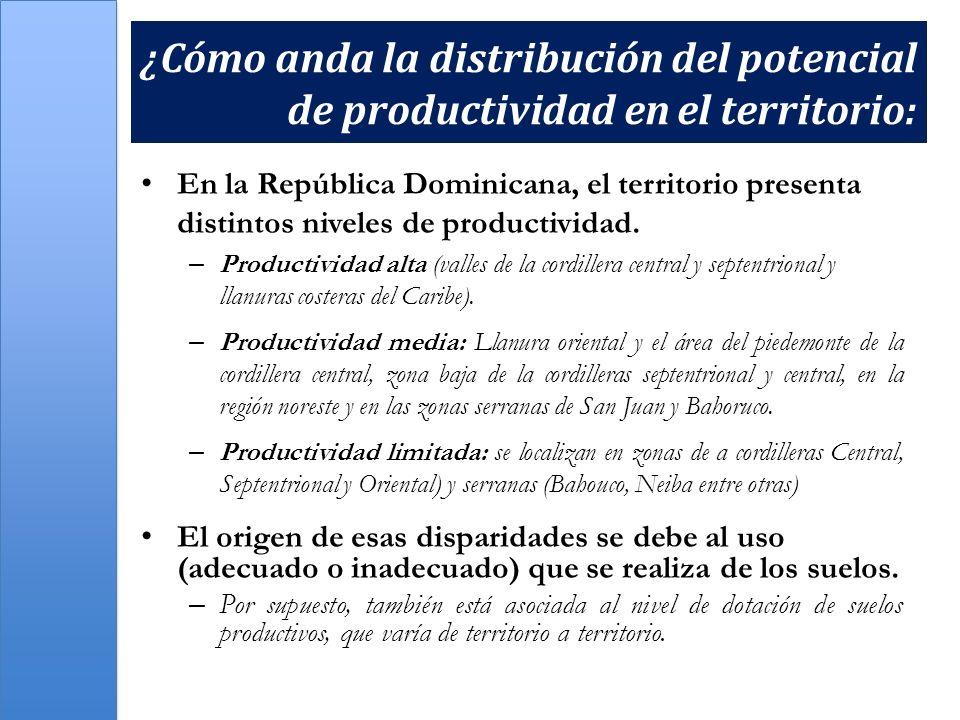 ¿Cómo anda la distribución del potencial de productividad en el territorio: En la República Dominicana, el territorio presenta distintos niveles de pr