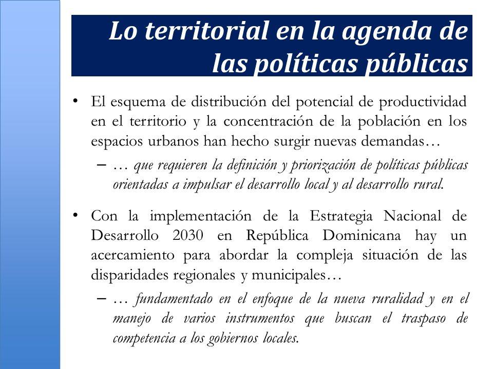Lo territorial en la agenda de las políticas públicas El esquema de distribución del potencial de productividad en el territorio y la concentración de
