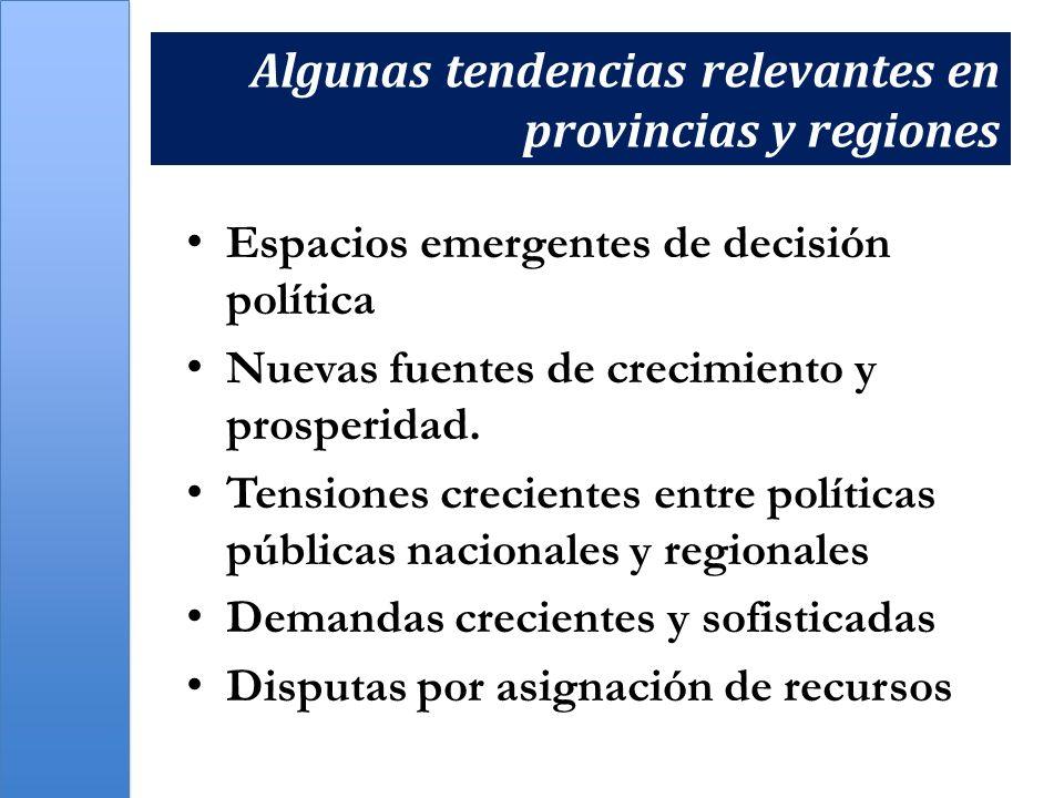 Algunas tendencias relevantes en provincias y regiones Espacios emergentes de decisión política Nuevas fuentes de crecimiento y prosperidad. Tensiones