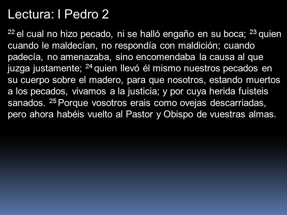 Lectura: I Pedro 2 22 el cual no hizo pecado, ni se halló engaño en su boca; 23 quien cuando le maldecían, no respondía con maldición; cuando padecía,