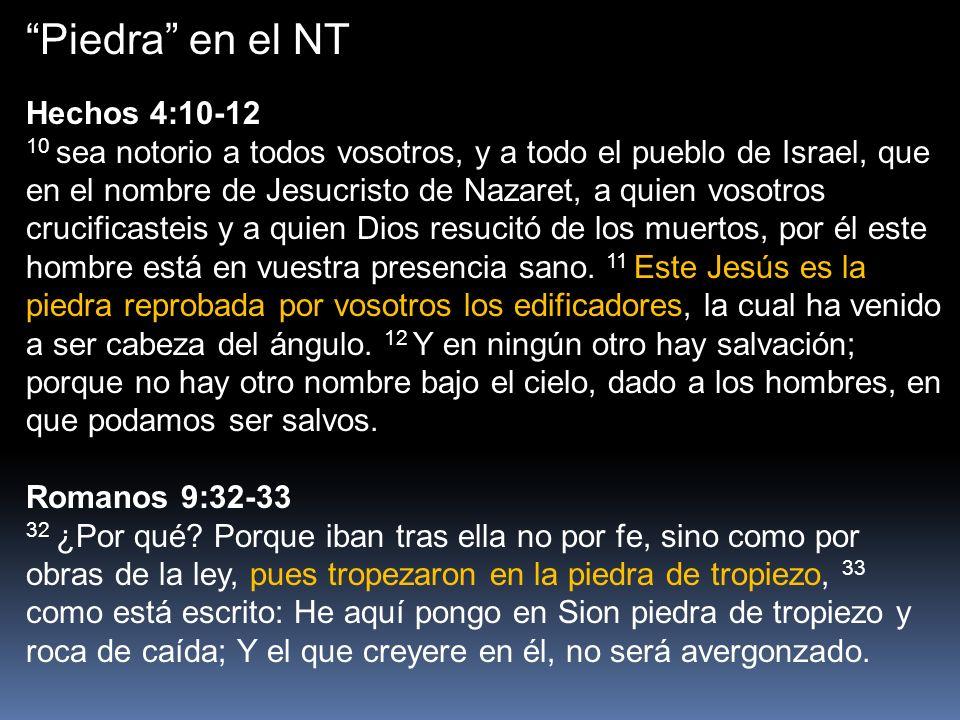 Piedra en el NT Romanos 9:32-33 32 ¿Por qué? Porque iban tras ella no por fe, sino como por obras de la ley, pues tropezaron en la piedra de tropiezo,