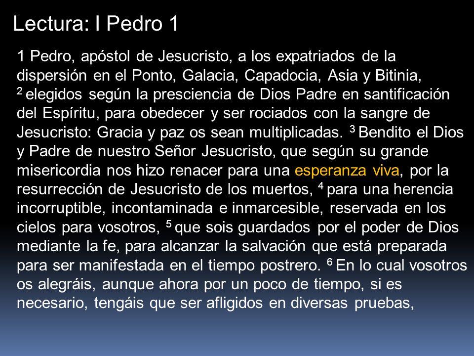 Lectura: I Pedro 1 1 Pedro, apóstol de Jesucristo, a los expatriados de la dispersión en el Ponto, Galacia, Capadocia, Asia y Bitinia, 2 elegidos segú