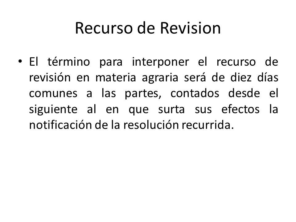 Recurso de Revision El término para interponer el recurso de revisión en materia agraria será de diez días comunes a las partes, contados desde el sig