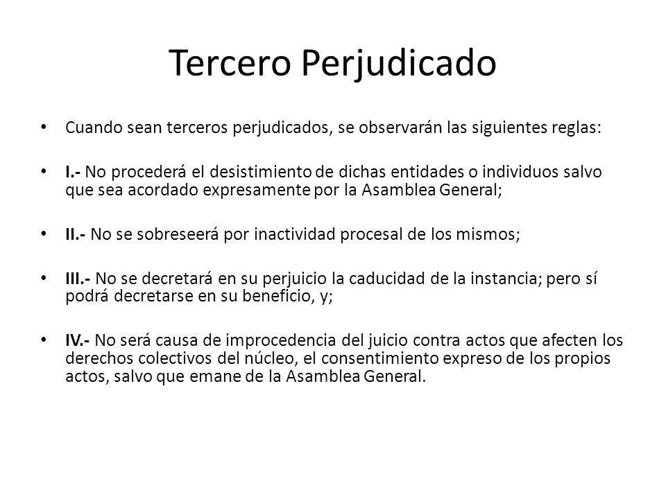 Tercero Perjudicado Cuando sean terceros perjudicados, se observarán las siguientes reglas: I.- No procederá el desistimiento de dichas entidades o in