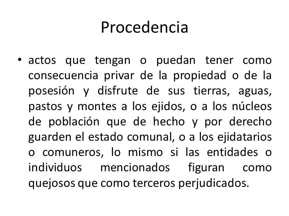 Procedencia actos que tengan o puedan tener como consecuencia privar de la propiedad o de la posesión y disfrute de sus tierras, aguas, pastos y monte