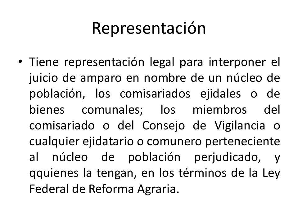Representación Tiene representación legal para interponer el juicio de amparo en nombre de un núcleo de población, los comisariados ejidales o de bien