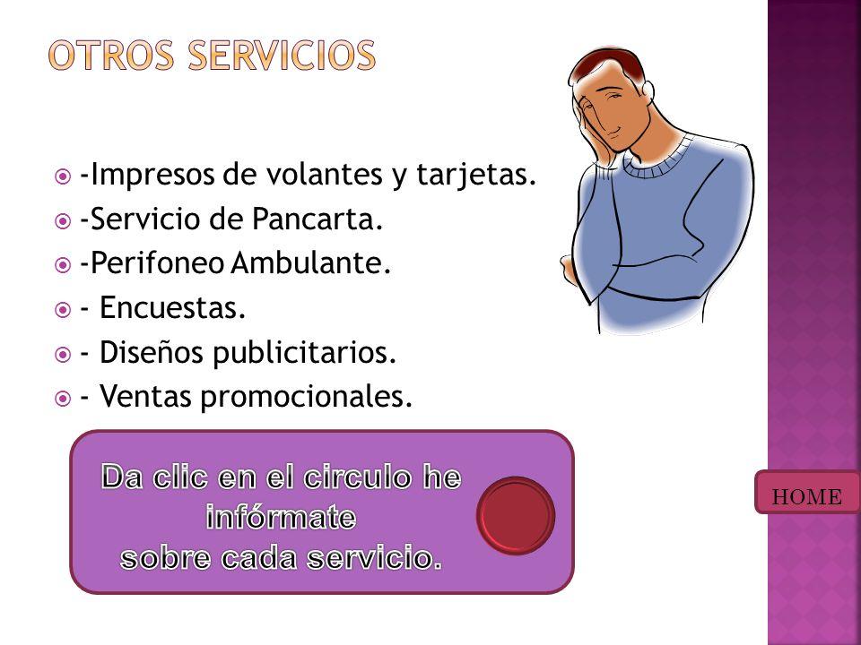 -Impresos de volantes y tarjetas.-Servicio de Pancarta.