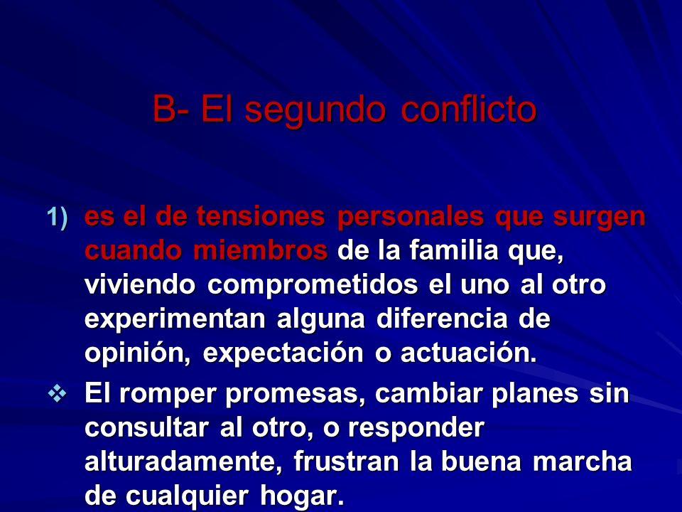B- El segundo conflicto 1) es el de tensiones personales que surgen cuando miembros de la familia que, viviendo comprometidos el uno al otro experimentan alguna diferencia de opinión, expectación o actuación.