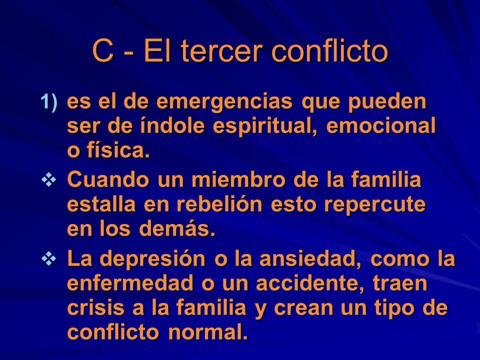 C - El tercer conflicto 1) es el de emergencias que pueden ser de índole espiritual, emocional o física. Cuando un miembro de la familia estalla en re