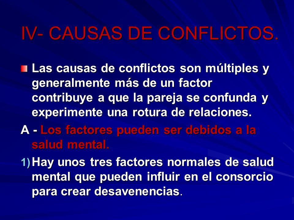 IV- CAUSAS DE CONFLICTOS. Las causas de conflictos son múltiples y generalmente más de un factor contribuye a que la pareja se confunda y experimente