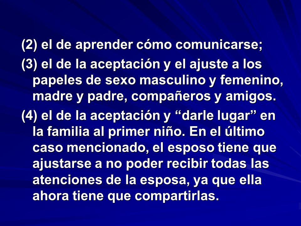 (2) el de aprender cómo comunicarse; (3) el de la aceptación y el ajuste a los papeles de sexo masculino y femenino, madre y padre, compañeros y amigos.