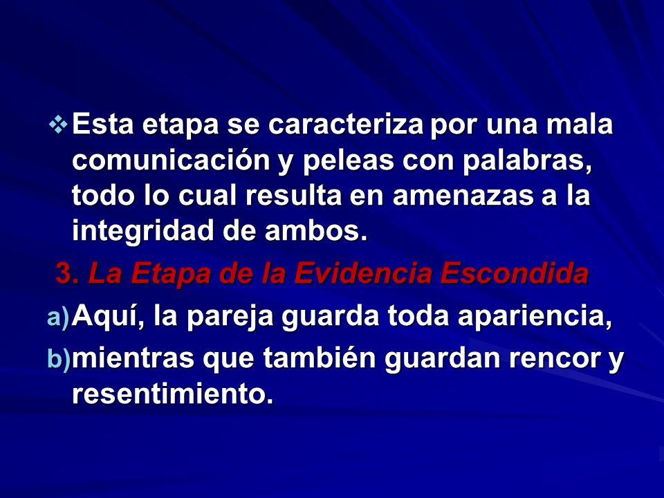 Esta etapa se caracteriza por una mala comunicación y peleas con palabras, todo lo cual resulta en amenazas a la integridad de ambos.