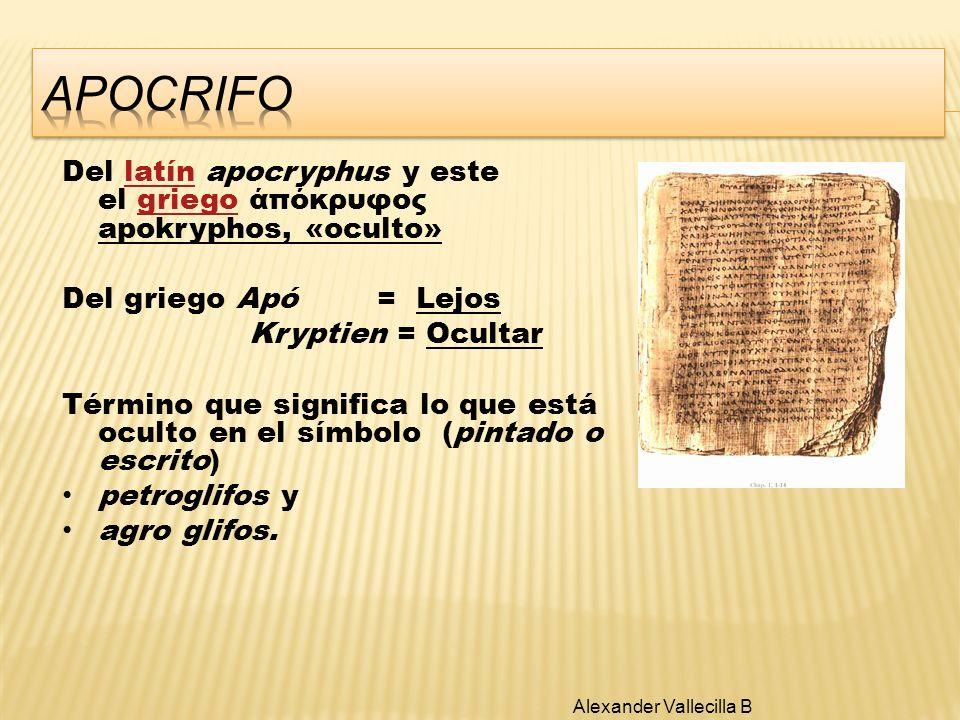 Del latín apocryphus y este el griego άπόκρυφος apokryphos, «oculto»latíngriego Del griego Apó = Lejos Kryptien = Ocultar Término que significa lo que