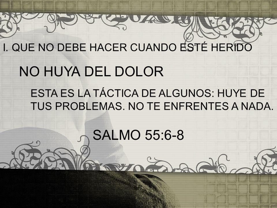 I. QUE NO DEBE HACER CUANDO ESTÉ HERIDO ESTA ES LA TÁCTICA DE ALGUNOS: HUYE DE TUS PROBLEMAS. NO TE ENFRENTES A NADA. NO HUYA DEL DOLOR SALMO 55:6-8
