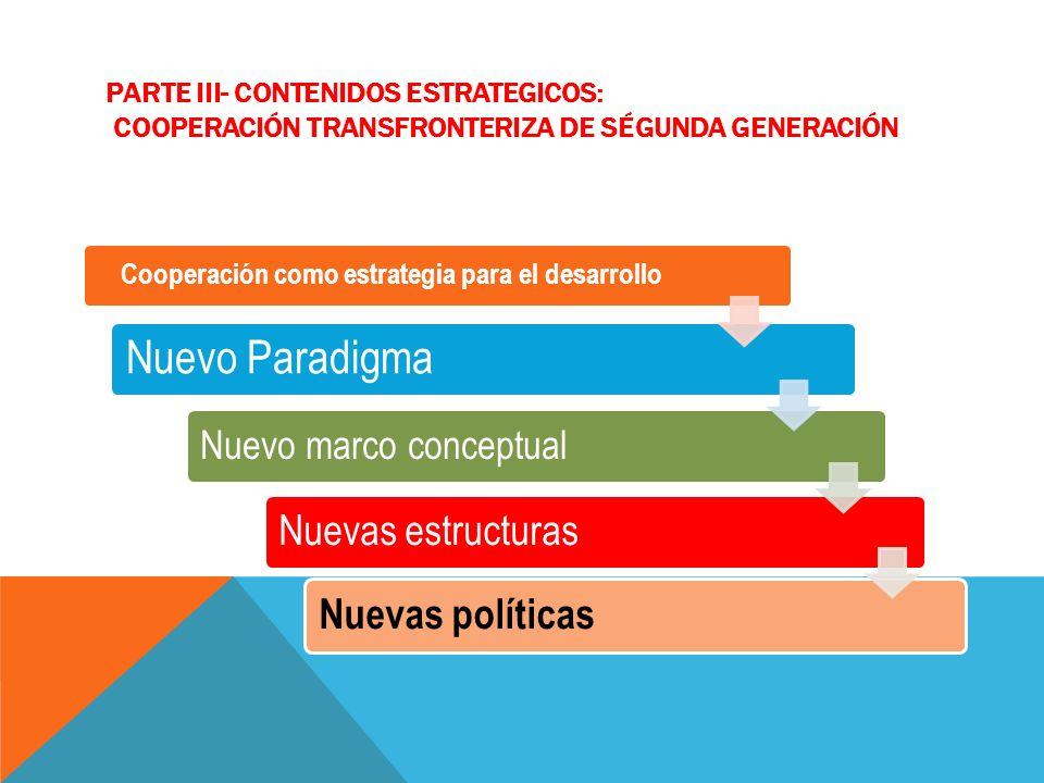 PARTE III- CONTENIDOS ESTRATEGICOS: COOPERACIÓN TRANSFRONTERIZA DE SÉGUNDA GENERACIÓN Cooperación como estrategia para el desarrollo Nuevo Paradigma Nuevo marco conceptual Nuevas estructuras Nuevas políticas