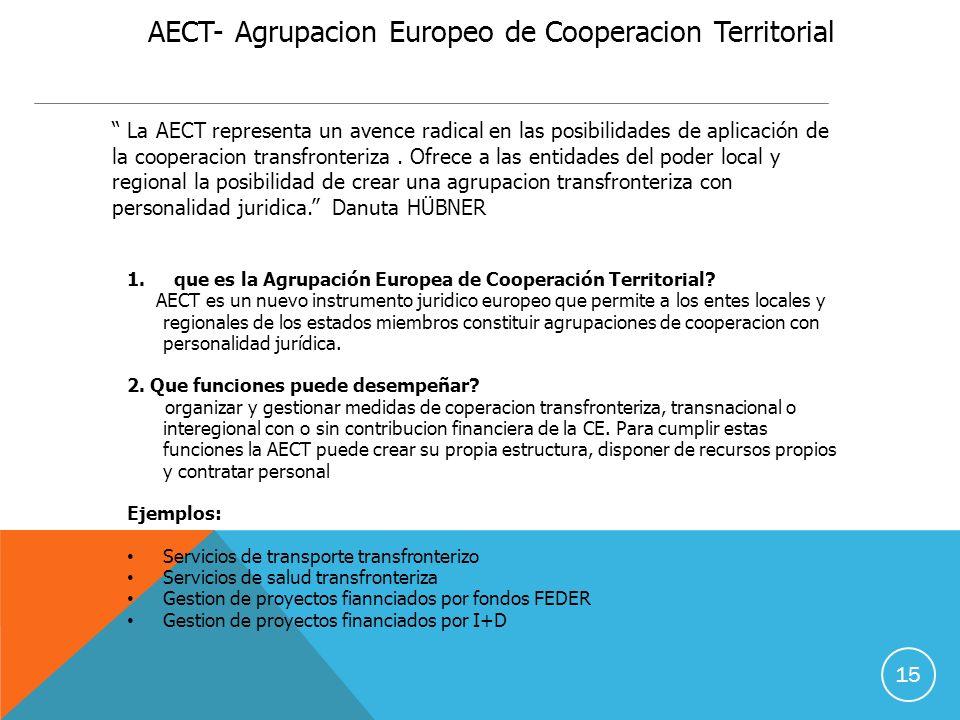 15 AECT- Agrupacion Europeo de Cooperacion Territorial La AECT representa un avence radical en las posibilidades de aplicación de la cooperacion transfronteriza.