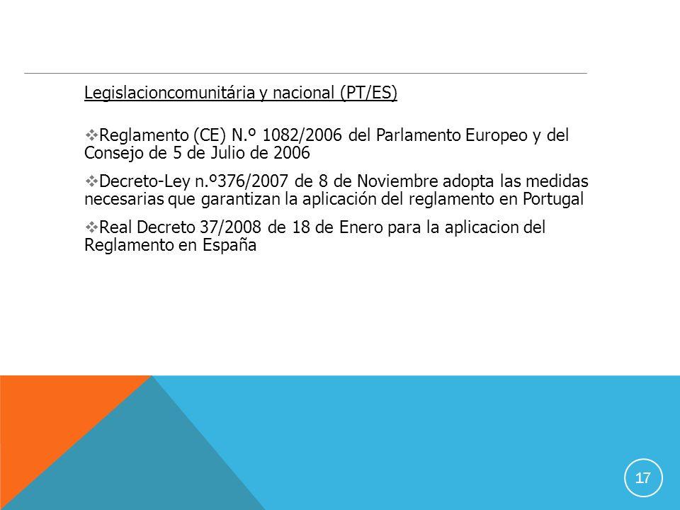 17 Legislacioncomunitária y nacional (PT/ES) Reglamento (CE) N.º 1082/2006 del Parlamento Europeo y del Consejo de 5 de Julio de 2006 Decreto-Ley n.º376/2007 de 8 de Noviembre adopta las medidas necesarias que garantizan la aplicación del reglamento en Portugal Real Decreto 37/2008 de 18 de Enero para la aplicacion del Reglamento en España