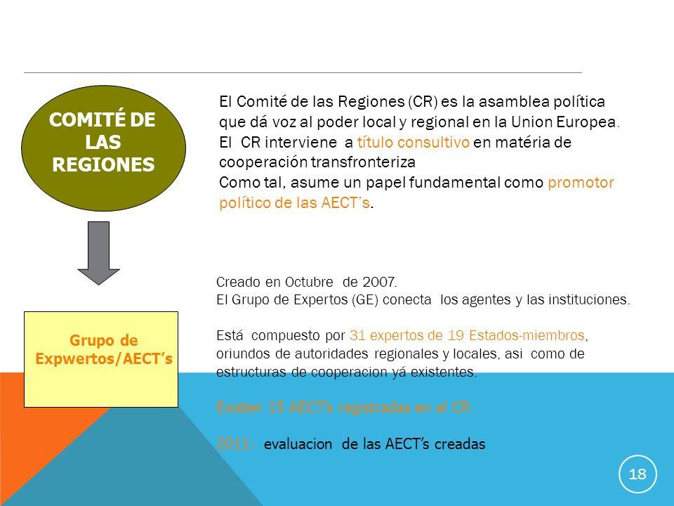 18 El Comité de las Regiones (CR) es la asamblea política que dá voz al poder local y regional en la Union Europea.