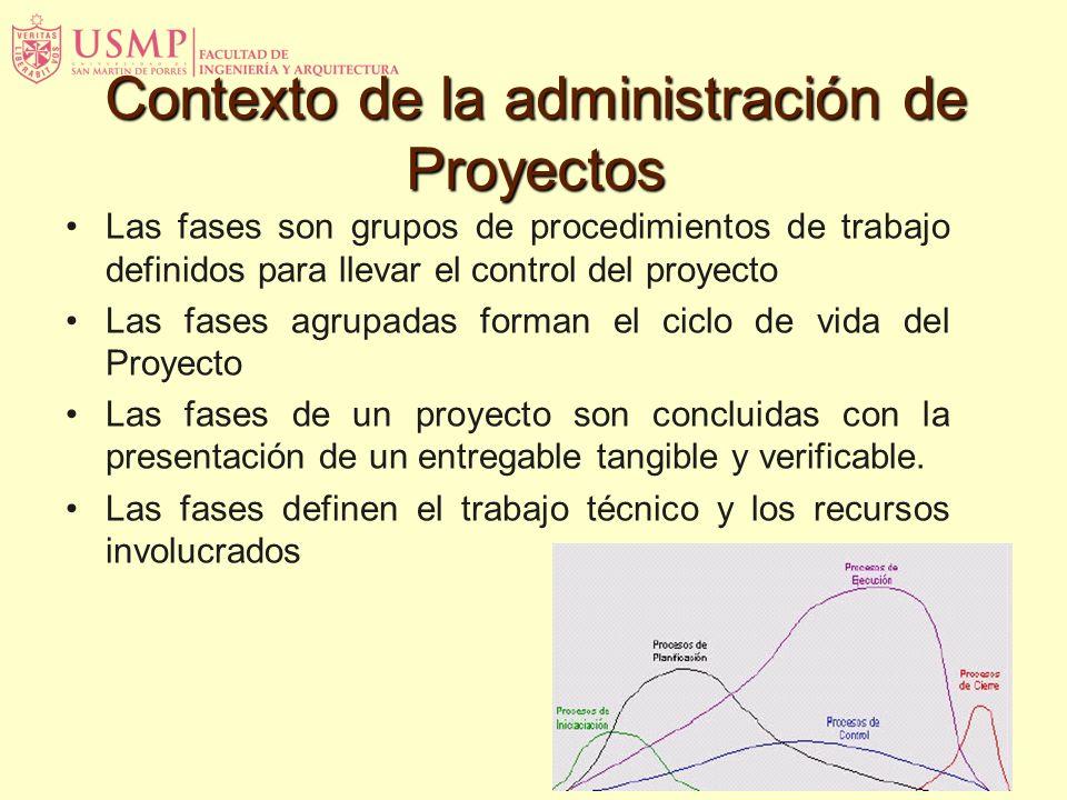 Las fases son grupos de procedimientos de trabajo definidos para llevar el control del proyecto Las fases agrupadas forman el ciclo de vida del Proyec